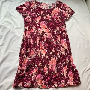 3/$25🇺🇸 Old Navy Maroon & Pink Floral Dress